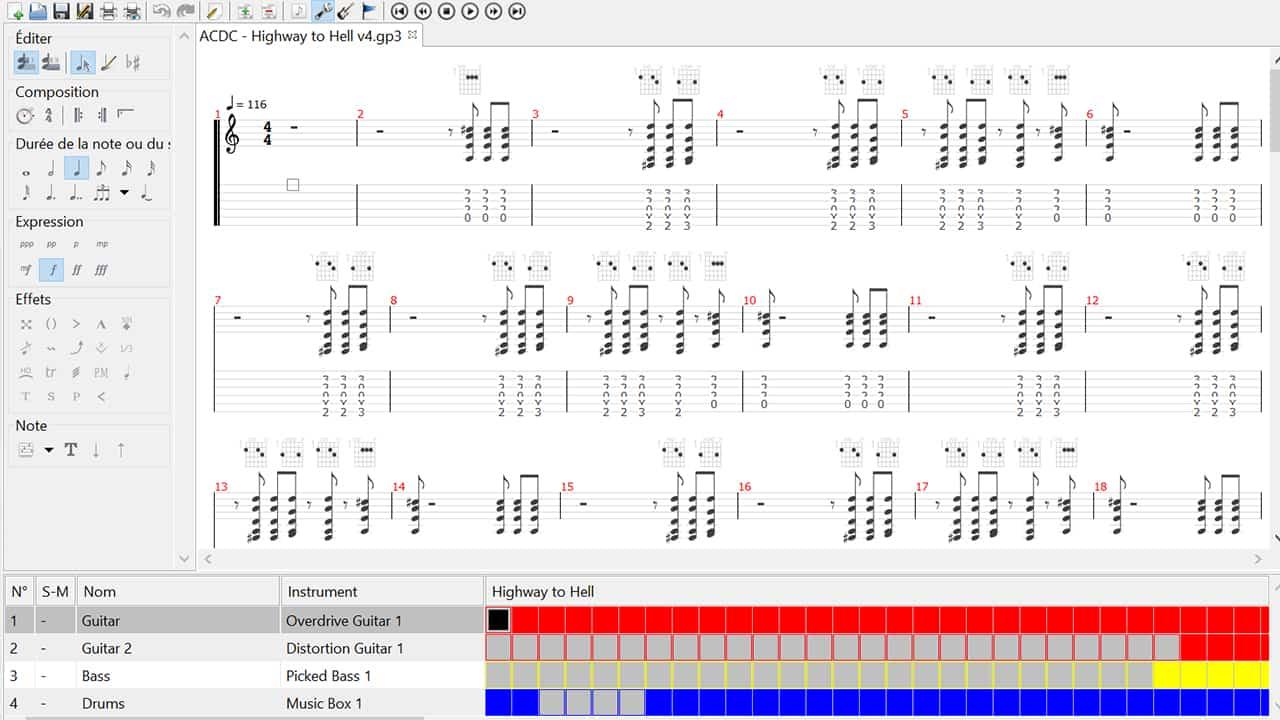 Logiciel apprendre guitare tablature partition métronome accordeur gratuit alternative guitar pro band in a box