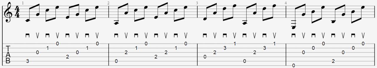 aprège au médiator technique exemple tablature cours facile guitare.PNG