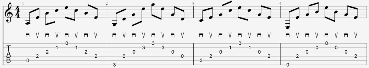 exemple arpège médiator tablature cours guitare facile leçon