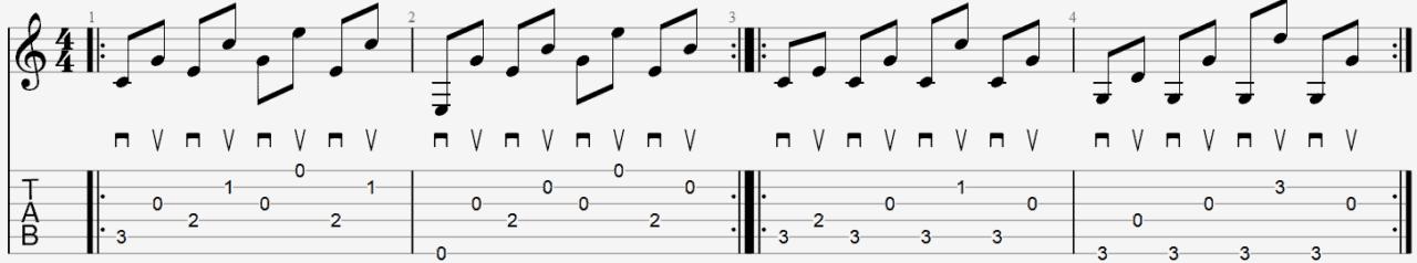 tablature arpège médiator exemple apprendre jouer guitare facile cours